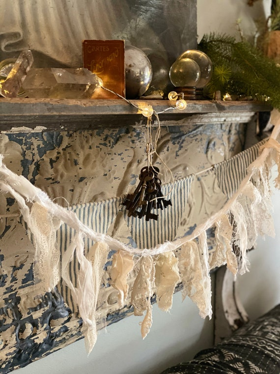 Antique Lace Garland, Christmas,Shabby French lace