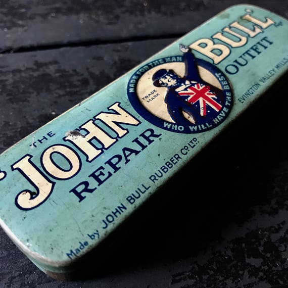 John Bull tire repair outfit tin, complete. Made for the Man that will have the Best.