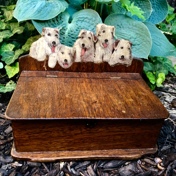 Antique oil Painting Dogs,Terrier Painting, Wood box, hand made,Signed and Dated 1900