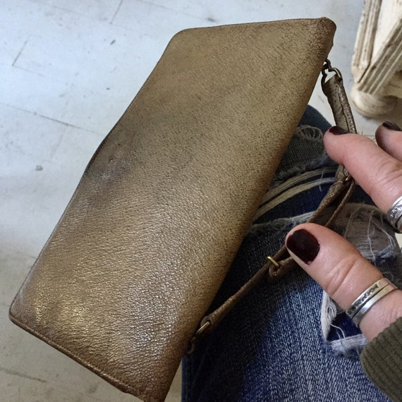 Vintage Leather hand bag, vintage leather wallet. Ladies vintage wallet.