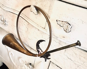 Victorian Christmas Horn, Antique French Horn Decor, Vintage by Nina, Jeanne D arc Living.