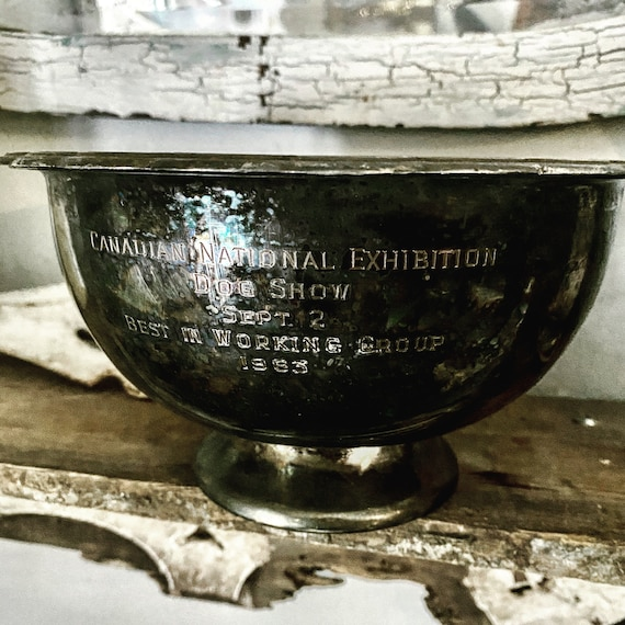 Canadian National Exhibition 1963, Working Class Dog Trophy, Dog Best in Show Trophy, loving cup, Antique trophy