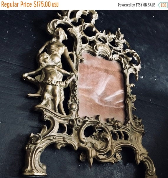 SALE 50 OFF Antique Picture Frame, dated 1786, French, shabby Chic. Jeanne d'arc, Vintage by Nina