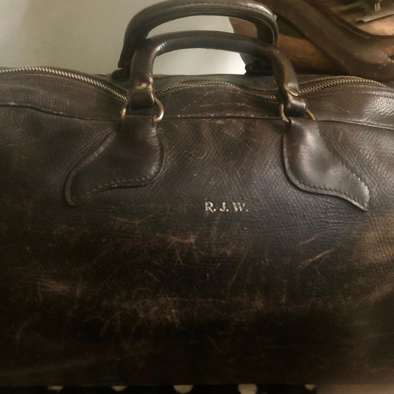 Antique LEATHER DOCTOR BAG leather duffle antique travel image 0