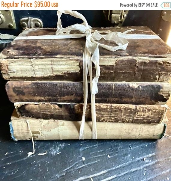 Sale 50% antique books - Mansion, Bourgeois Home, 1700-1800s, leather spines and 4 leather covers, wonderful decorator 100 year old books.
