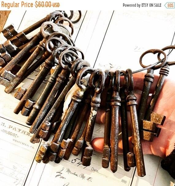 Sale 50% Skeleton Key, France, 3 Large Gate Key. Antique