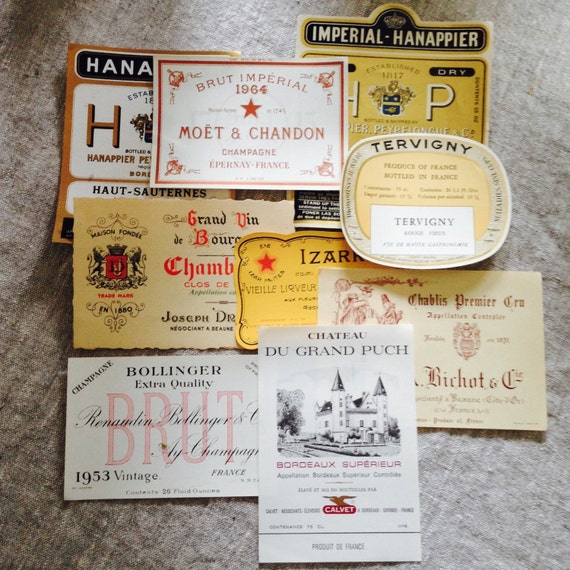 Antique French Wine Labels never used.