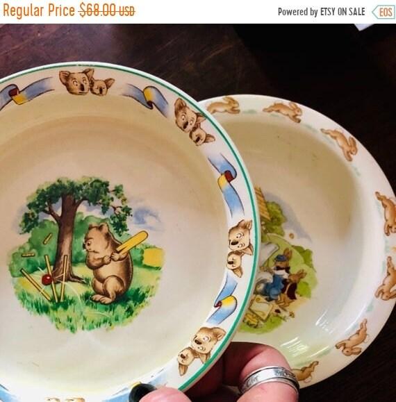 SALE 50 OFF Staffordshire baby bowl & Bunnykins bowl.