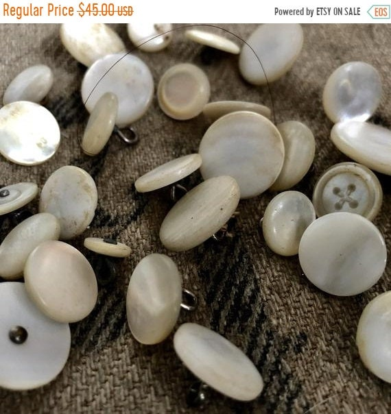 SALE 50 OFF Antique Buttons,Mother of Pearl buttons,35, all sizes,mother of pearl buttons.