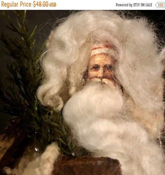 SALE LAST CHANCE Santa Claus hand made using Antique findings and ephemera, Saint Nicholas, St. Nick, Kris Kringle, Pelznickel