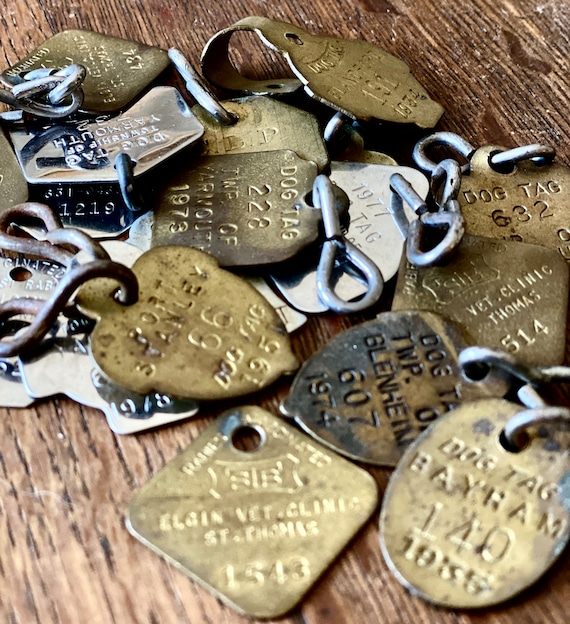 Antique Dog Tags, you get 18 tags, 1930s-vintage 70-80s