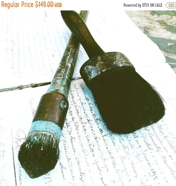 Sale 50% Antique Paint Brush 2 with real hair, nice patina, wonderful craftsmenship,antique, vintage