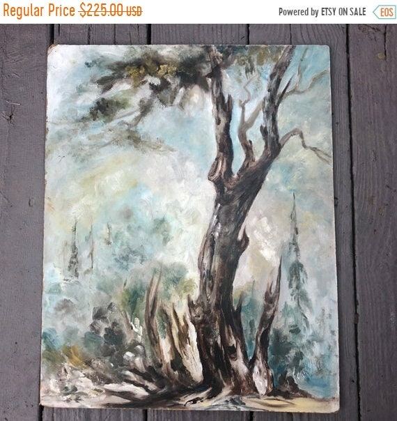 SALE 50 OFF Antique French Oil on Board, shabby oil painting