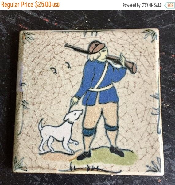 SALE 50 OFF Huntsman, hunting Dog, riffle, gun, hand painted tile