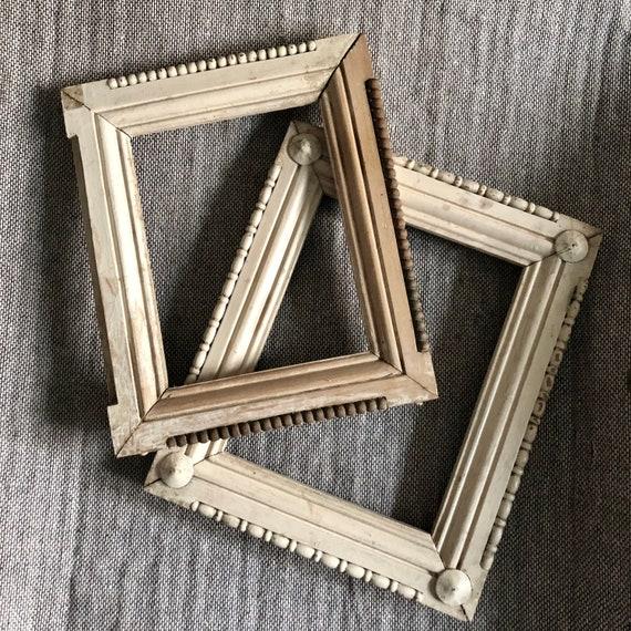 Antique Picture Frames, Folk Art Frams, Solid Wood Antique frame,shabby Chic. Jeanne d'arc, Vintage by Nina
