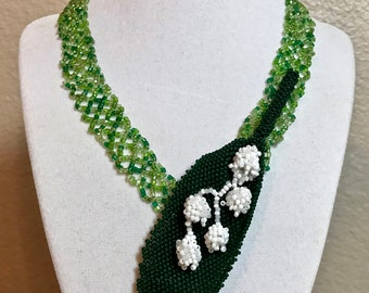 Hand Beaded Necklace, Lily of the Valley