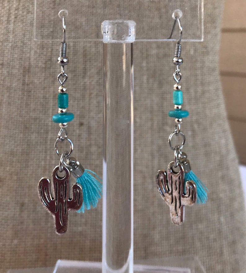 Turquoise Beads Earrings Silver Fish Hook Ear Wires Made in the USA Tassels Cactus Earrings