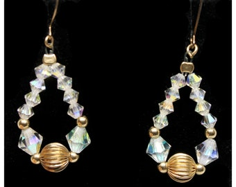 Vintage Aurora Borealis AB Crystal Glass Bead & Gold Bead Teardrop Ear Hook Dangle Earrings | Holiday Statement Earrings | Drop Earrings
