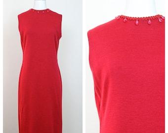 1960s Red Knit Wool Shift Dress w/ Red Teardrop Beaded Trim Neckline  | 60s Shift Dress | Mod Dress | Vintage Dresses | Shift Dresses