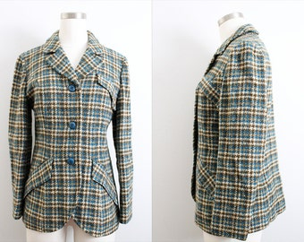 1960s Pendleton Green and Blue Houndstooth Wool Blazer