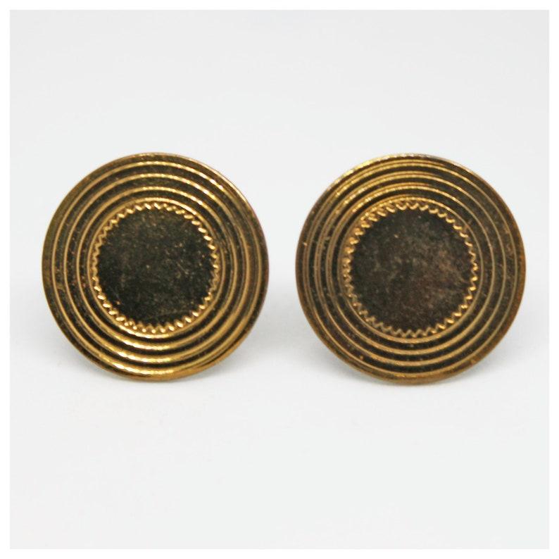 Gift Suit Accessories Weddings Vintage Goldtone Embossed Circular Round Cufflinks Groom Accessories Best Man Wedding Groomsmen