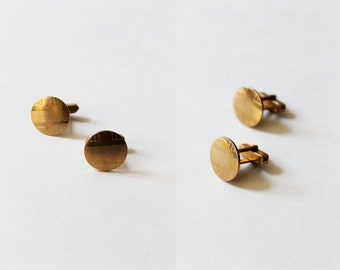 Vintage Gold Textured Circle Cuff Links
