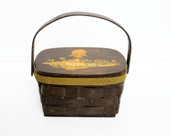 1960s Picnic Decoupage Basket Wooden Box Purse