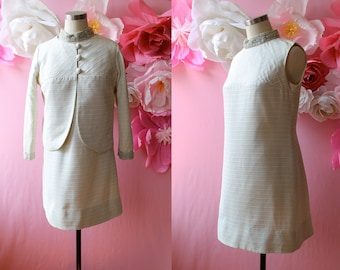 1960s White and Metallic Silver Striped Dress Matching Jacket Set