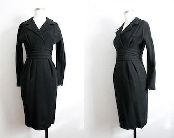 1960s Black V-Neck Wool Dress