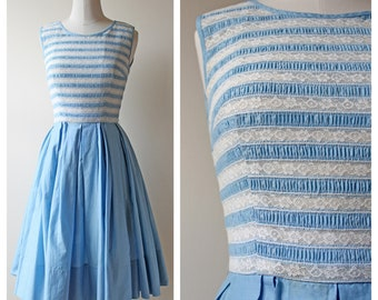 1950s Blue & White Lace Striped Pleated Dress | Women's Clothing | Wedding | Something Blue | 50s Dress | Lace Dresses | Vintage Dresses
