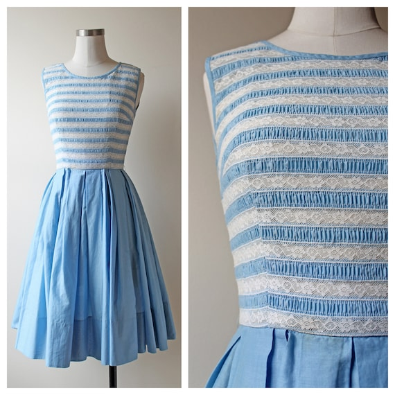 1950s Blue & White Lace Striped Pleated Dress | Wo