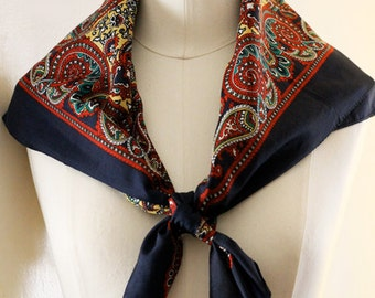 1980s Navy, Red & Yellow Printed Scarf