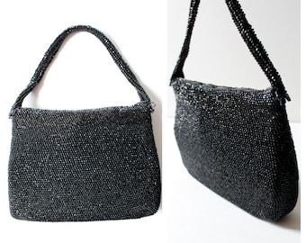 1950s Black Sparkly Beaded Evening Handbag | Vintage | Formal | 50s | Evening | Wedding | Prom | Bag | Purse | Bags | Vintage Handbags