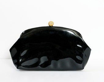 "1950s Black ""MM Patent"" Clutch with Rhinestone Clasp"