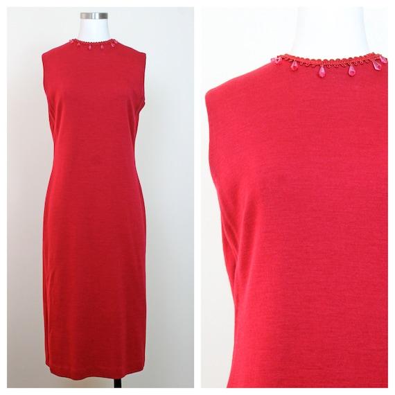 1960s Red Knit Wool Shift Dress w/ Red Teardrop Be