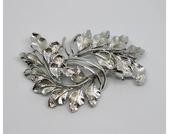 Vintage Coro Silver Double Leaf Leaves Brooch | Vintage Jewelry | Wedding | Jewelry | Holiday Gift | Bride | Bridal Pins | Brooch | Brooches