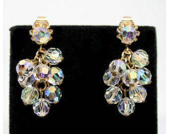 1950s Aurora Borealis AB Crystal Glass Bead Dangly Clip On Dangle Earrings  | Bridal Accessories | Wedding Statement Earrings | Drop Earring