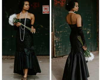 Vintage 1980s Black Sequin & Lace Glitter Polka Dot Fishtail Strapless Taffeta Tulle Dress with Bow | 80s | Prom | Black Wedding Gown