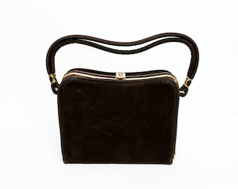 1950s Brown Suede Box Purse