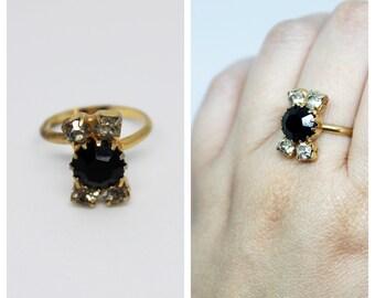 Vintage Black & Sparkly Rhinestone Gold Tone Adjustable Ring | Vintage Rings | Vintage Jewelry | Bride | Stacking | Jewelry | Stack | Rings