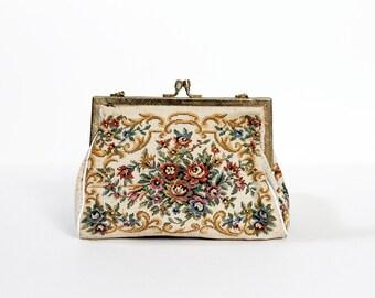 """1950s Floral """"Walborg"""" Tapestry Handbag"""