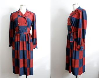 "1980s Blue & Red Plaid ""Kappi"" Dress"