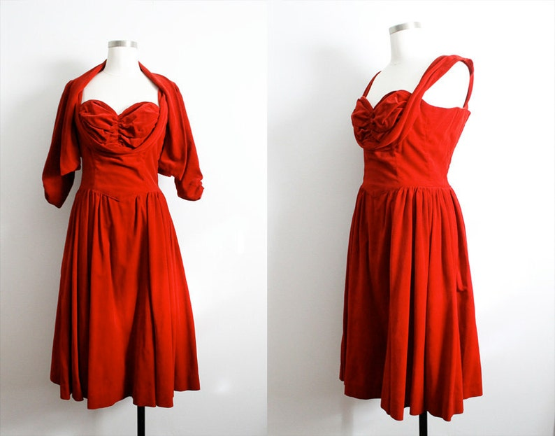 88091f62467 Vintage 1950s Red Velvet Sweetheart Dress w  Matching Bolero