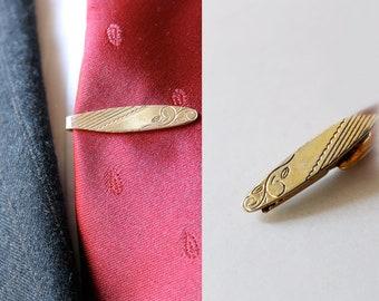 Vintage Men's Gold Curvy Embossed Tie Clip