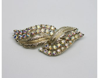Vintage Sparkly Light White Gold Aurora Borealis AB Crystal Iridescent Double Leaf Leaves Brooch  | Bride | Bridal Pins | Brooch | Brooches