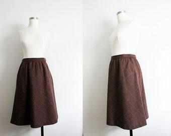 1980s Brown Plaid Wool Skirt