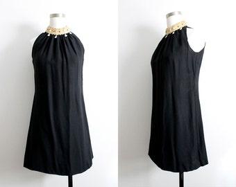 1960s Black Mini Dress w/ Beaded Collar