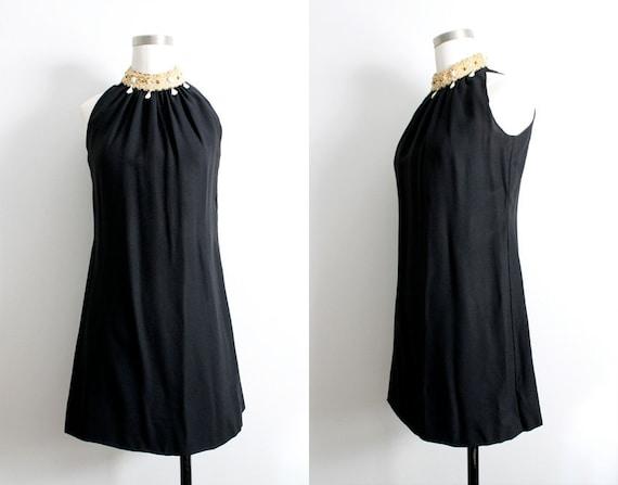 Vintage 1960s Black Mini Dress w/ White Beaded Col