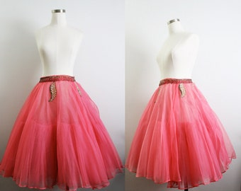 1950s Pink Organza & Tulle Sparkly Beaded and Sequin Tutu Ballet or Ballroom Dancer Skirt