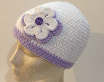 White and Lilac Double Flowered Beanie